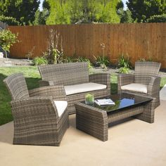 Mission Hills Redondo 4 Piece Lounge Seating Group with Cushions, Brown