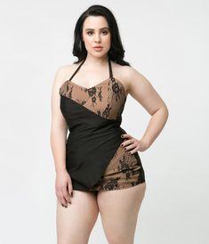 4c572e275693c Unique Vintage 1950s Style Black & Tan Lace Loren Playsuit Trendy Plus Size  Fashion, Curvy