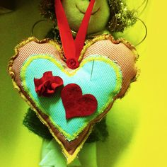 dark pink and green double heart textile decoration
