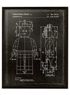 Le tableau brevet du bonhomme Lego 16,75x20,75 pouces | Simons Maison | Tableaux en exclusivité Web | Simons
