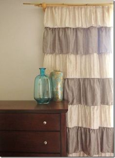 DIY ruffle curtains with a black out liner.  Super easy to make if you want to spruce up a room!