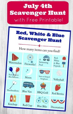 This red, white & blue scavenger hunt is perfect for July party games or summer fun for kids and tweens! Turn it into a photo scavenger hunt too! Summer Scavenger Hunts, Photo Scavenger Hunt, Scavenger Hunt For Kids, Independence Day Holiday, Summer Fun For Kids, Blue Balloons, Easy Science, Fourth Of July, Free Printables