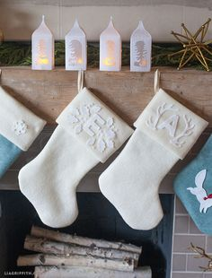 For the last project I am sharing a set of monogrammed Christmas stockings. I made these for my daughter and her boyfriend who will be joining me this eve. I have filled them up since I shot this photo yesterday.