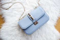periwinkle blue leather shoulder #bag :: #Valentino