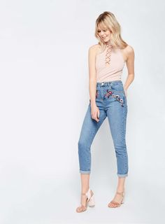 MOM Embroidered Jeans