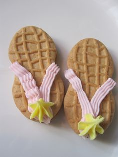 Flip flop Nutter Butters...could use fruit roll ups and fruit snacks if no frosting on hand @Jennyy71