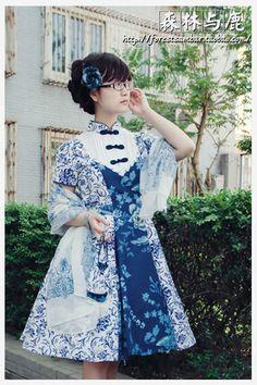 Blue-stained blue dress op Qi Lolita - Forest & Sambar