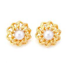 Tazza Gold-Tone Metal Pearl Stud Earrings