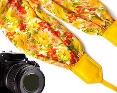 Yellow Scarf camera strap. Sunshine camera strap. Flowers DSLR Camera Strap. Camera accessories. Durable camera straps. 00283