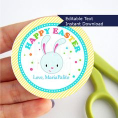 Bunny Easter Tags, Printable Editable Happy Easter Tag, Gift Tags, Cupcake Toppers, Printable stickers D859
