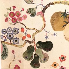 Detail of watercolour design by Josef Frank (1885-1967) at the Fashion and Textile Museum in London