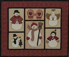 Free Snowman Applique Patterns | In this wall quilt, the snowmen were appliquéd using fusible web and ...