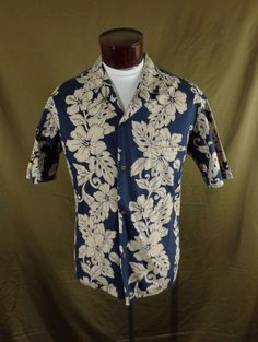 93a4c82c64 Details about Vintage Royal Creations Blue Hibiscus Chain Print Halsteel Hawaiian  Shirt - 48