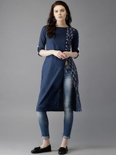 Buy Moda Rapido Navy Blue Cotton Printed Kurta online in India at best price.avy Blue printed kurta with a high slit, has a round neck, three quarter sleeve, straight hem Short Kurti Designs, Simple Kurti Designs, Kurta Designs Women, Blouse Designs, Denim Kurti Designs, Salwar Designs, Dress Designs, Indian Fashion Trends, India Fashion