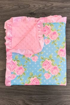 Pink & Blue Roses Minky Blanket - Sparkle in Pink Cute Blankets, Kids Blankets, Soft Baby Blankets, Blue Roses, Pink Blue, Baby Shower Gifts, Baby Gifts, Miracle Baby, Bunny And Bear