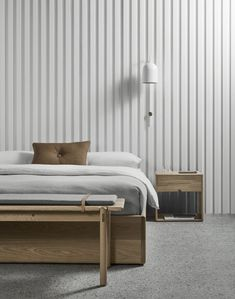 The AOB bed base is designed by Melbourne–based Australian furniture designer Made by Morgen and is part of their collection of Scandinavian furniture. Home Bedroom, Bedroom Furniture, Master Bedroom, Furniture Design, Bedroom Decor, Bedrooms, Nursery Decor, Pavillion, Concrete Furniture