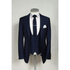 Slim fit 3 piece navy wedding lounge suit hire with double breasted waistcoat. YES