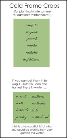 Planting in Cold Frames for Winter Harvest--list of the best crops to grow.