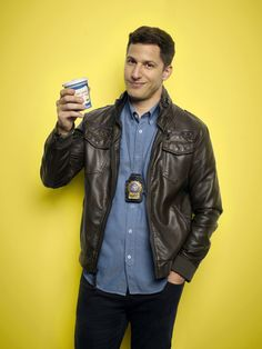 Brooklyn Nine Nine Andy Samberg Brown Leather Jacket Brooklyn Nine Nine, Brooklyn 9 9, Andy Samberg, The Police Live, Brooklyn 99 Actors, Charles Boyle, Best Television Series, Jake And Amy, Free Poster Printables