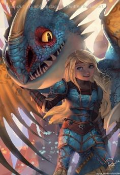 Astrid and Stormfly from RaidesArt - How to train your dragon - . - Astrid and Stormfly from RaidesArt – How to train your dragon – - Dragons Le Film, Httyd Dragons, Httyd 3, Dreamworks Dragons, How To Train Dragon, How To Train Your, Film Anime, Anime Art, Dragon Movies