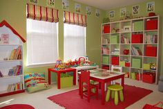 Love these colors for a playroom, the woman did a fabulous job! I am inspired!