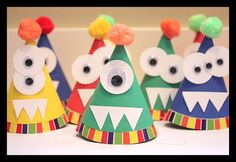 Make DIY party hats for a monster birthday - they will be a hit with the kids #monster #birthday #party