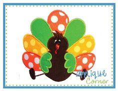 turkey applique pattern | Turkey Satin Applique Design | Appliques & Monograms