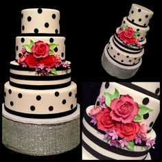 Kate Spade inspired four-tiered black and white cake with bright flower accents from Tastries Bakery in Bakersfield, CA.
