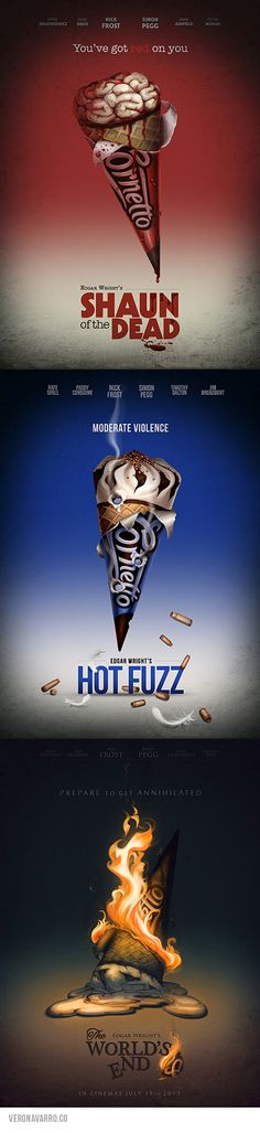 Cornetto Trilogy alternative posters: Shaun of the Dead + Hot Fuzz + The World's End by Vero Navarro