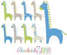 Boys Baby Giraffe Digital Clipart by AbsolutelyJanie