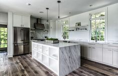 Kitchen Room under Circa 1700 Blansfield Builders Among Marble Countertop On The Bottom from Chandelier Also Glossy Freezer Beside Chimney