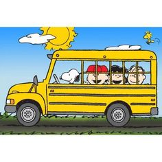 Marmont Hill Peanuts School Bus Peanuts Print on Canvas, Size: 24 inch x 16 inch, Multicolor