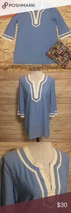 J. Crew Splitneck Tunic Lightweight Tunic style blouse by J. Crew is long and flattering and very soft and comfortable. I used as a swimsuit cover-up but it's meant to be a blouse. Extremely versatile! Light blue with white contrasting trim at neckline and sleeves. J. Crew Tops Tunics