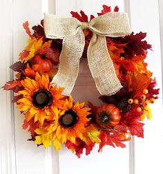 Sunflower Wreath Fall Wreath For Door Rustic Thanksgiving Wreath Autumn Home Decor on Etsy, $61.00