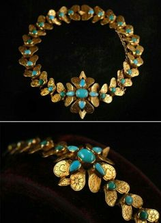 -Antique gold and turquoise