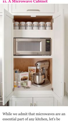 His Stately Kitchen Devotes An Entire Cabinet To Keeping The Microwave Out Of View Plus Counter E Below It Is Ideal For Prepping Your Leftovers