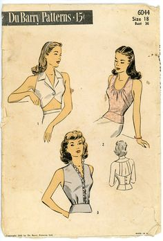1940s Halter Pattern DuBarry 6044 Rare Misses by CynicalGirl, $64.00