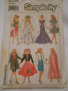 Simplicity 9334 Barbie Bride robe Nightgown Skirt  by MadkDesigns