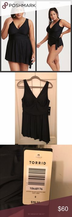 NWT Torrid One Piece Swimsuit NWT never worn! One piece swim suit with asymmetrical hem that can be worn down as dress or tied up for a cute touch. Size 0 fits a 10/12. Pet and smoke free home. Item will probably be slightly wrinkled from storage. No trade offers please! torrid Swim One Pieces