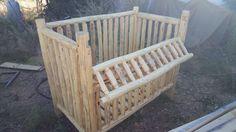 Handmade log nursery - Convertable Crib