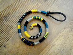 Atebas amovible bleue turquoise grise jaune et noire - 42cm Tresse indienne : Accessoires coiffure par stonanka