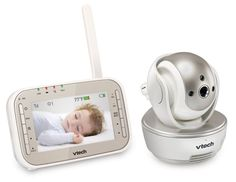 The VTech Safe and Sound Digital Video Baby Monitor helps you keep an eye on your little one with 2 pan and tilt cameras with automatic night vision. You can connect up to 4 extra cameras (sold separately) to make sure you have a good look at your baby. Vtech Baby, V Tech, Cctv Security Cameras, Baby Smiles, Grandpa Gifts, Baby Monitor, Baby Health, Baby Safe, Baby Needs
