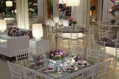 wedding design. i like the square tables...that way people can actually talk to each other across the table.
