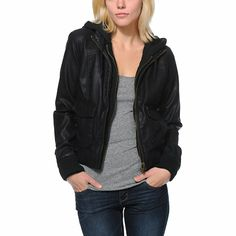 Make the world envy your style with the Obey Jealous Vintage Black Leather bomber jacket for girls. This Black faux leather bomber jacket comes with a built in zip up hoodie and features a drawstring hood, front and side pockets, ribbed cuffs/hem, and dual front zippers. For a fashion forward look, layer the Jealous Lover Vintage Black bomber jacket over a sheer tee with a pair of skinny jeans and high top shoes.