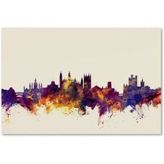Trademark Fine Art Cambridge England Skyline Canvas Art by Michael Tompsett, Size: 30 x 47, Purple