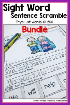 Your Kindergarten and First Grade Students will learn to read their Fry List Sight words with these no prep printable Fluency Sentence activities. Your students will enjoy learning sight words with these Printable Sentence Scrambles. Each senten Learning Sight Words, First Grade Sight Words, Word Study, Word Work, Student Reading, Guided Reading, Sight Word Sentences, Sentence Building, Sentence Starters