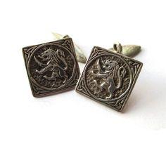 Sterling silver Scottish lion cufflinks, CAI Iona Scotland, Hamish Dawson Bowman, Celtic art Industries, lion rampant, heraldry symbol. https://www.etsy.com/uk/listing/498032591/sterling-silver-scottish-lion-cufflinks