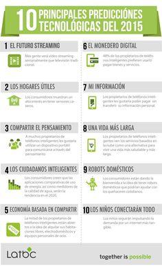 Esta infografía en español nos muestra las diez principales predicciones tecnológicas para este año 2015 que apenas acaba de comenzar.
