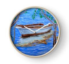 Wall Clock, artistic,decorative,items,modern,beautiful,awesome,cool,home,office,wall,decor,decoration,theme,gifts,presents,ideas,for sale,blue,sea,boat,nautical,marine,redbubble