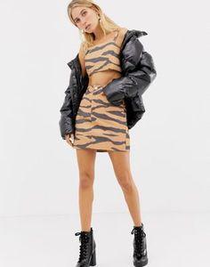 dfcb166ed9f ASOS DESIGN co-ord denim skirt in tiger print Jean Skirt